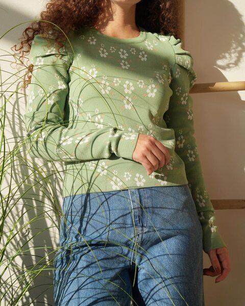 Блуза с цветочным принтом мятного цвета BL1000-3