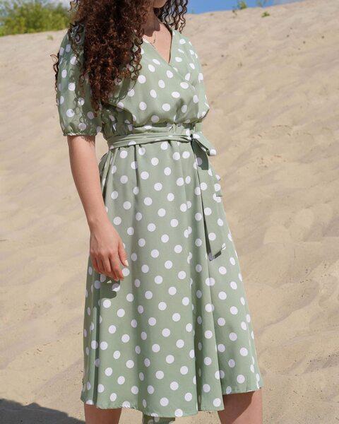 Мятное платье длины миди в крупный горох lm4065-2