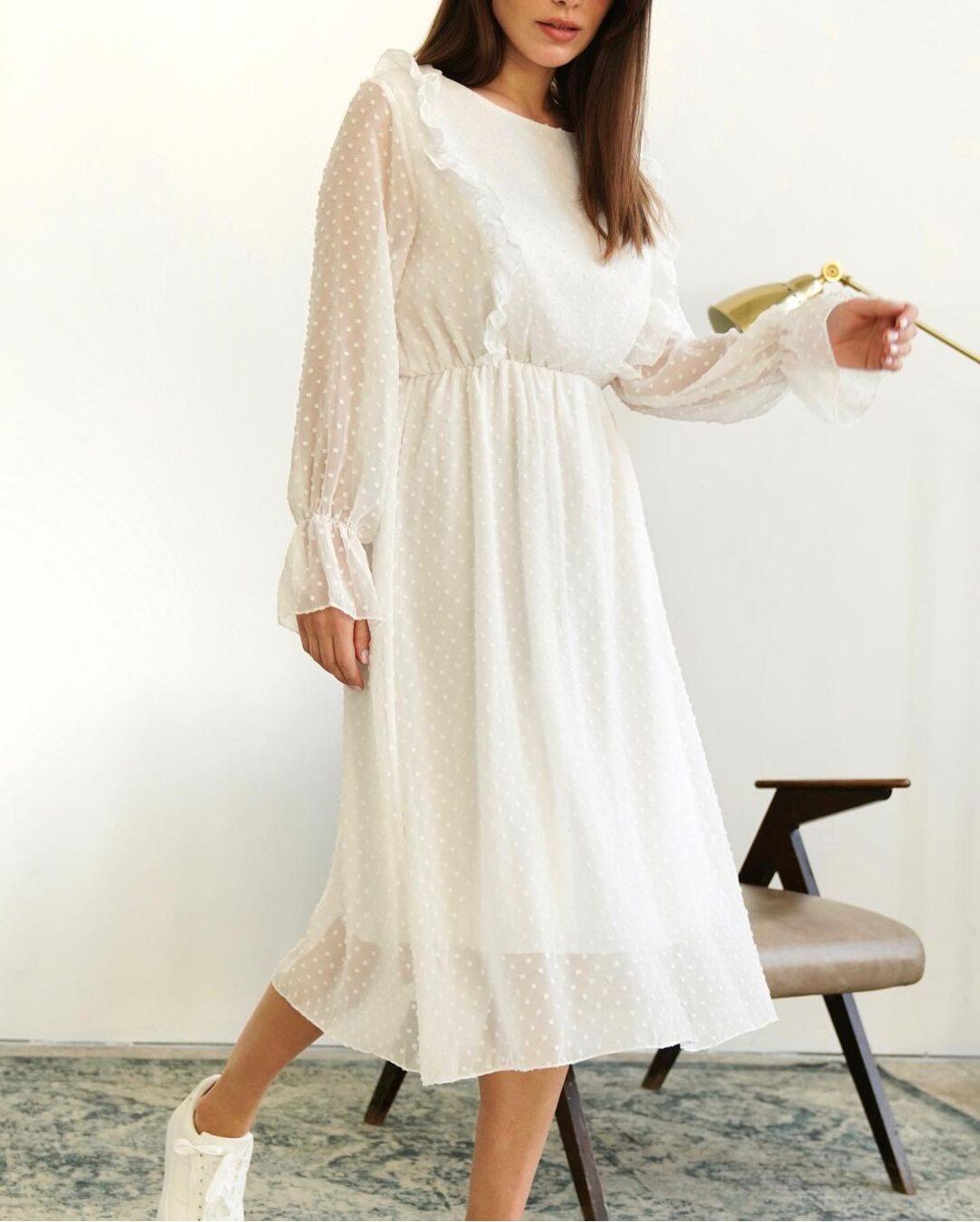 Сукня з підкладкою міді білого кольору LM4262