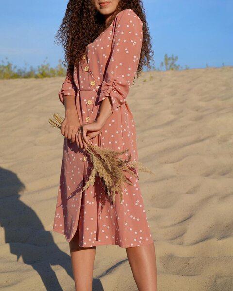 Платье в горох на запах пудрового цвета PL1005-5