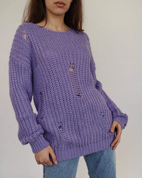 В'язаний подовжений светр ліловий LM4164-3