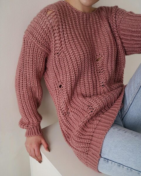 В'язаний подовжений светр пудрового кольору LM4164-5