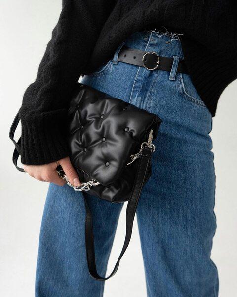 Стеганная сумка через плече с прошитым клапаном LM4148
