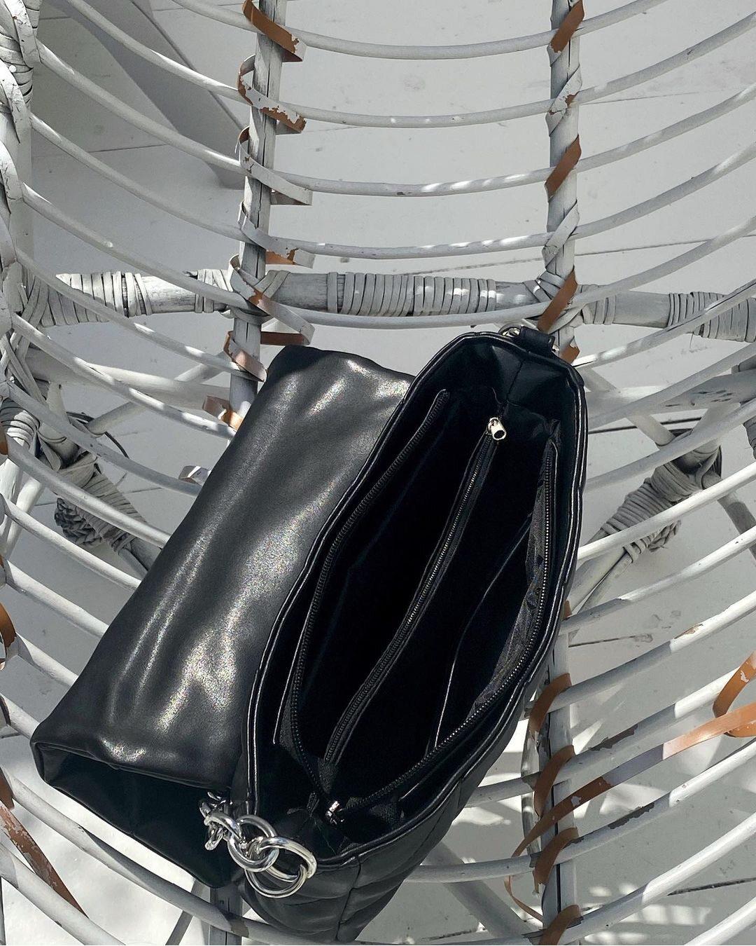 Стьогана сумка з двома ремінцями чорна LM4329-1