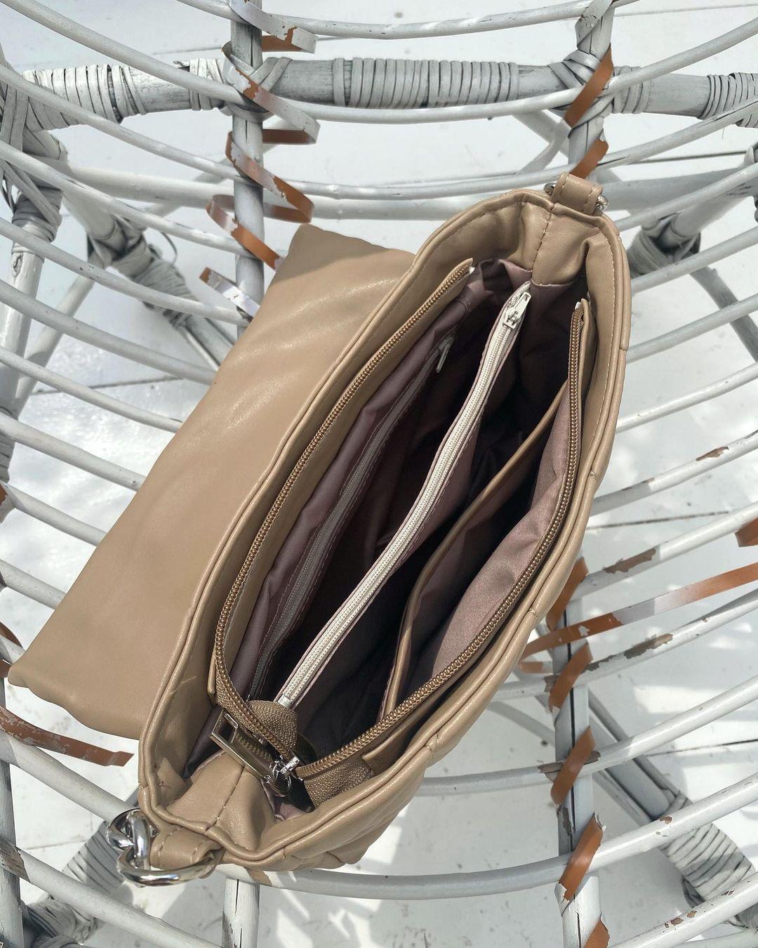 Стьогана сумка з двома ремінцями бежева LM4329-2