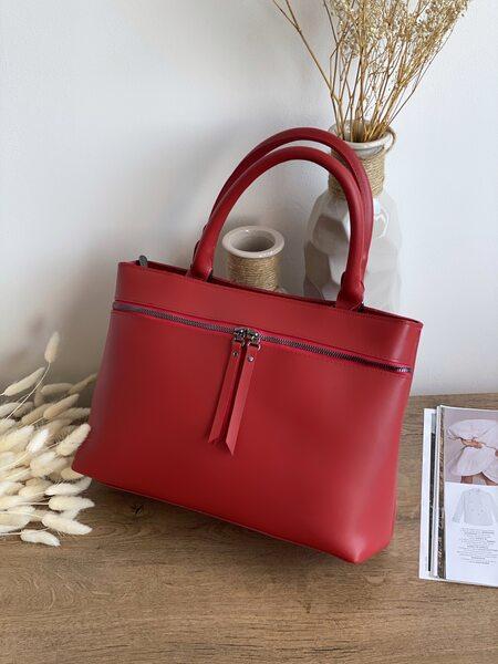Вместительная сумка с молнией поперек красная LM3022-1