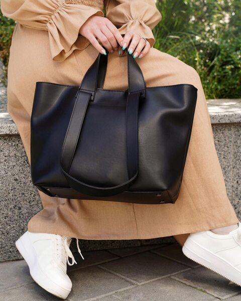 Містка сумка-шопер чорного кольору LM4343-1